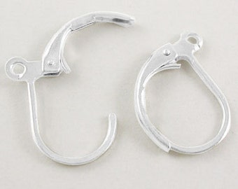 Silver Lever Back Earring Hooks - 10mm wide, 15mm long