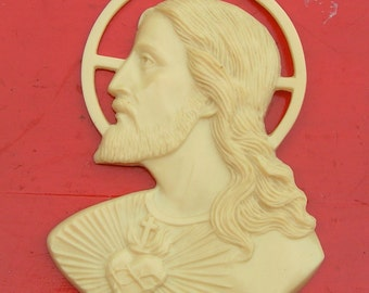 40s Early Plastic Jesus Sacred heart Halo Off White for REPURPOSE Mixed Media