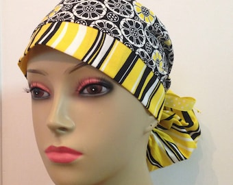 Women's Ponytail Surgical Scrub Cap - Black and White Flowers and Stripes with Yellow