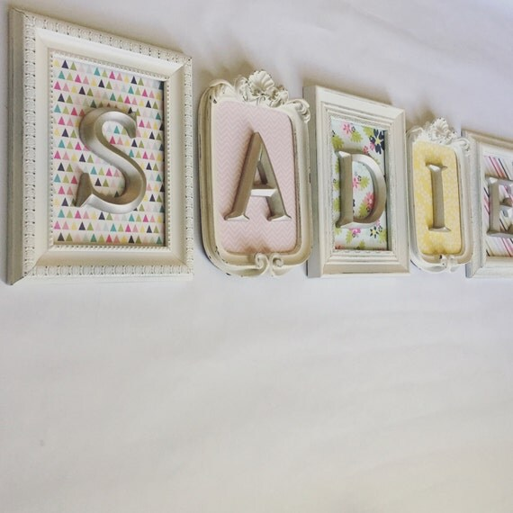 4-8 Vintage Style FRAMED LETTERS Shabby Chic by VintageEvents