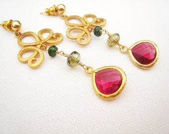 Magenta Earrings Faceted Magenta Czech Glass Earrings Fuchsia Dangle Earrings Drop Earrings 14kt Gold Filled Posts Gift Idea For Her