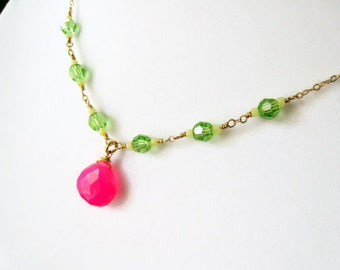 Chalcedony Necklace Hot Pink Chalcedony Fuchsia Swarovski Crystal Jewelry As Seen on TV Nickelodeon Bella and the Bulldogs Gift Idea For Her