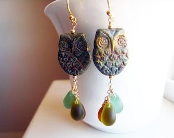 Owl Earrings Nature Jewelry Woodland Owl Earrings Czech Glass Drops Winter Bird Earrings Owl Jewelry Style TrendGift Idea For Her Rustic Owl