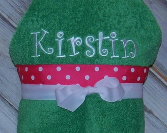 Personalized Hooded Towel - Sample Shown in Fresh Green