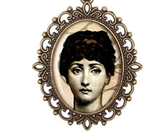 Fornasetti Face Womans Face Vintage Inspired Bronze or Silver Large or Small Victorian Cameo Necklace Jewellery