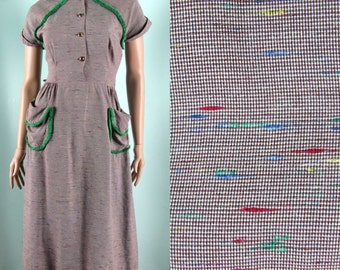 Vintage 1940s 1950s Dress 40s 50s Rainbow Tweed dress with Fringe and Pockets by Jean Leslie Size 4 26W