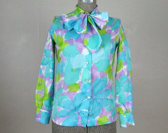 Vintage 1960s Blouse 60s Floral Watercolor Print Blouse with Ascot Bow Size S