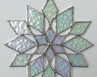 stained glass snowflake suncatcher  (design 34C)