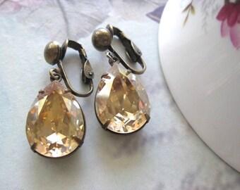 Estate Style Champagne Crystal Clip Ons - Swarovski Golden Shadow dangle Earrings leverback crystal earrings