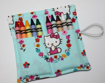 Crayon Rolls made from Hello Kitty fabric, holds up to 10 Crayons, Birthday Party Favors