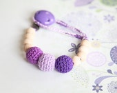 Pacifier clip, small simple dummy chain holder, Teething toy with crochet wooden beads. Rattle for baby.