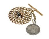Antique Victorian Albert Pocket Watch Chain, Sterling Silver English Coin Fob