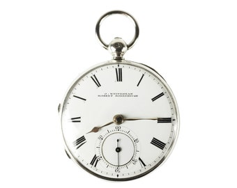 Sterling Silver Antique English Fusee Pocket Watch, Dated 1873, Excellent Working Condition