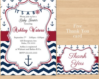 Baby Shower Invitation, Navy Blue Red Printable Nautical Anchor Chevron Boy Sprinkle Its a boy Free Thank You Card