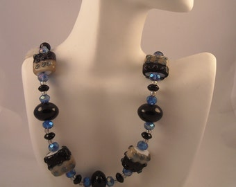 Lampwork Crystal Glass Beads Beaded Necklace