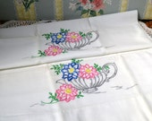 Vintage Pillowcase Set, Flowers in Teapot, Pink, Blue, Green and Gray, Hand Embroidered, Floral Pillow Case Pair, Cotton 19 x 32