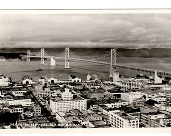 Vintage Postcard, Oakland Bay Bridge, San Francisco California, 1930s Town View, Collectible Post Card, Piggott 1304, Unused Real Photo PC