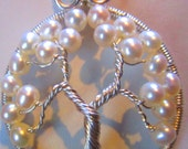 White Freshwater Pearl Tree of Life Pendant set in.999 Fine Silver, Wire Wrapped Pearl Tree of Life, Fine Silver Pendant