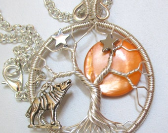 Tree of Life, October Harvest Moon Wire Wrapped Tree of Life, Starry Night Full Moon Tree of Life, Full Moon Jewelry