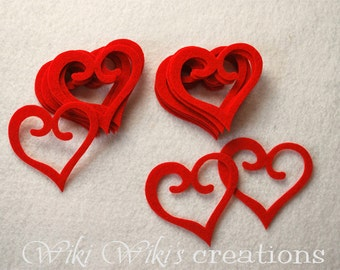 Stiff Felt Heart Die Cut - Pack of 18