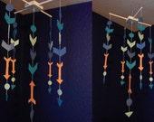 Modern Geometric Arrow Baby Girl Nursery Ceiling Mobile Teal Blue Coral felted Handmade