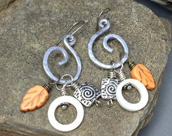 Interchangeable Hoop Earrings. Autumn Earrings, Orange, white and silver hoop earrings