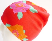 Beanie Hat Roses - Jersey - Red Pink Orange Flowers