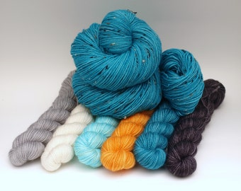 Ready to Ship:  Hand Dyed Fingering/Sock Yarn, Superwash Merino/Nylon, 1000 Yard Set, Koi Pond, Tweed