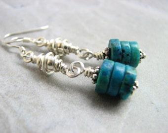 Chrysocolla Earrings, Blue / Green Stone Dangles, Beaded Sterling Silver Earrings, Stacked Blue Stone Jewelry