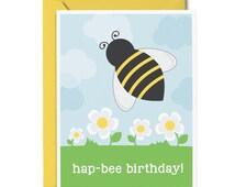 Bee Birthday Card - Happy Birthday Greeting Card - Kids Birthday Card - Honey Bee Birthday Card