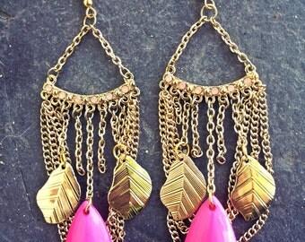 P.A.S.S.I.O.N. - Pink & Gold Bohemian Earrings