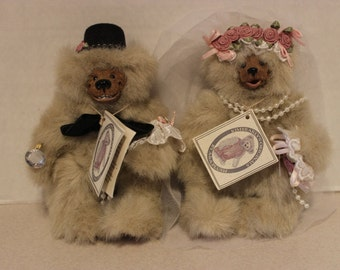 MWT Pair Kimbearly Originals Teddy Bears Bride and Groom Couple Limited Ed