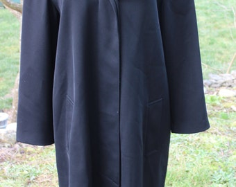 Ladies Vintage Giorgio Armani Black Coat w Hilary Radley Satin Liner Size 6