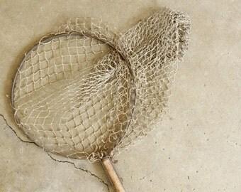 Rustic Beach Lake House Decor Display Old Shabby Fish Landing Net Nautical Wooden Handle
