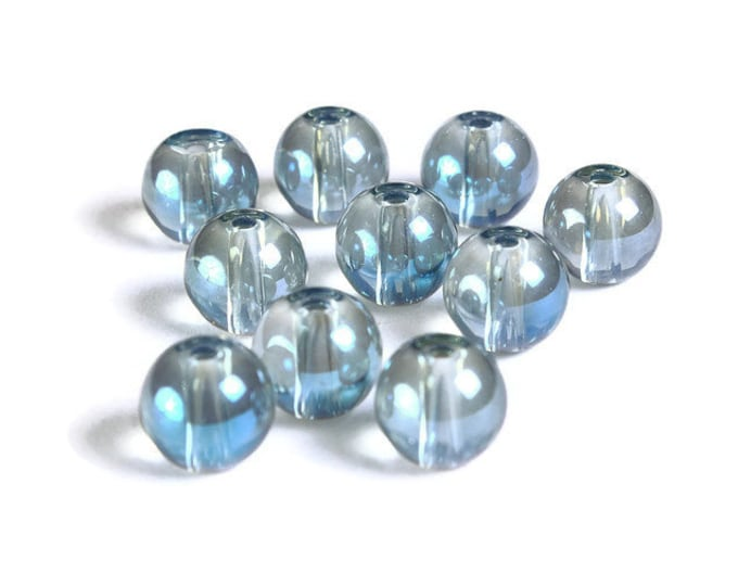 8mm Blue Gray Transparent beads - 8mm round glass bead (1699) - Flat rate shipping