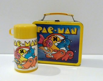 Pac Man Lunchbox and Thermos Vintage Aladdin Bally MidWay Metal Lunch Kit 1980s Ghosts Strawberry Cherries Fruit Peach