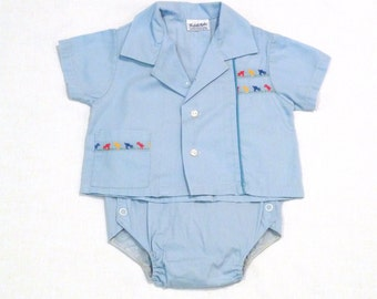 Blue Shirt and Romper Set Vintage 1960s Embroidered Birds Baby Toddler Tyke Birth to 12 lbs Could be used as Doll clothes  FREE US ship