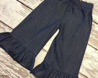 Chambray ruffle pants