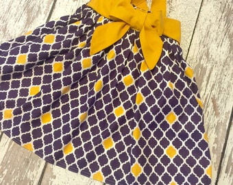 LSU toddler dress, LSU Tigers purple and gold girl dress, lsu dress, purple and gold girls dress, LSU tigers cheer dress,