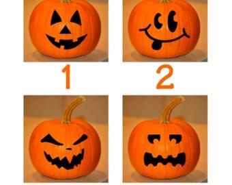 FREE SHIPPING Pumpkin Face Halloween Vinyl Decal