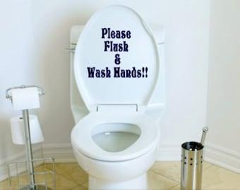 Please Flush & Wash Hands Toilet Decal
