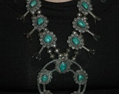 Super Sweet Vintage Navajo Sterling Silver Carico Lake Green Turquoise Squash Blossom Necklace Cir 1950's 198 Grams