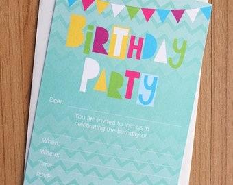 Birthday fill in invitations