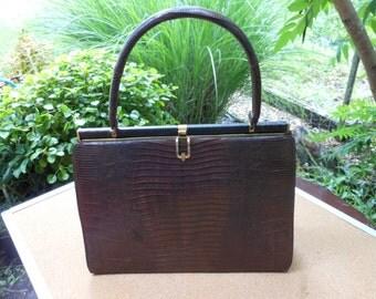 Purse-Bellestone Reptile Leather Purse-1950 Vintage Tegu Lizard Purse