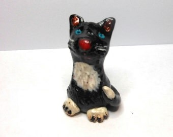 Cat-Polymer Clay Cat-OOAK-Black and White Cat
