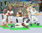 Baseball Players Cake Toppers  Pack of 6 plastic detailed players,  approx 2 inches each. Cupcakes Cakes Baking