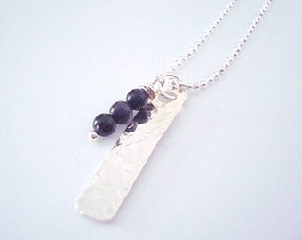 Sterling Silver Necklace -Hammered - Bar Necklace -  Blue Goldstone - Gemstone - Personalized - Custom - Layering Necklace - Bridesmaid Gift
