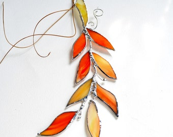 Orange Glass Autumn Leaf Branch. Stained Glass Suncatcher. Orange Leaf.