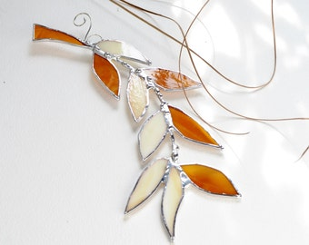 Amber Glass Autumn Leaf Branch. Stained Glass Suncatcher. Amber Leaf.