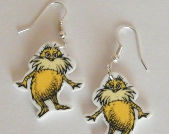 Dr Suess Inspired from The Lorax Story  book, Lorax  Earrings Dr Seuss